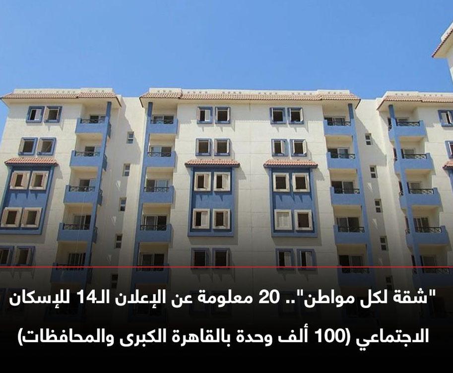 """تفاصيل المشروع الضخم - """"شقة لكل مواطن"""" الإعلان الـ14 للإسكان الاجتماعي (100 ألف وحدة بالقاهرة  والمحافظات"""" 11990910"""