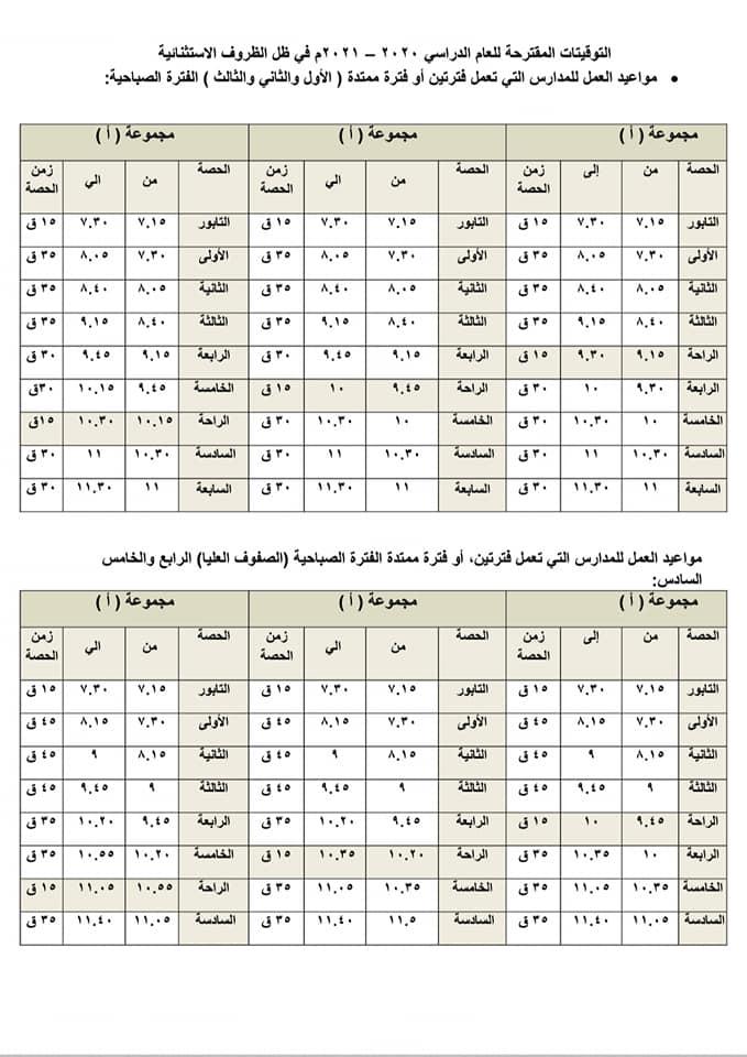مواعيد العمل للمدارس محافظة القليوبية2021 12095810