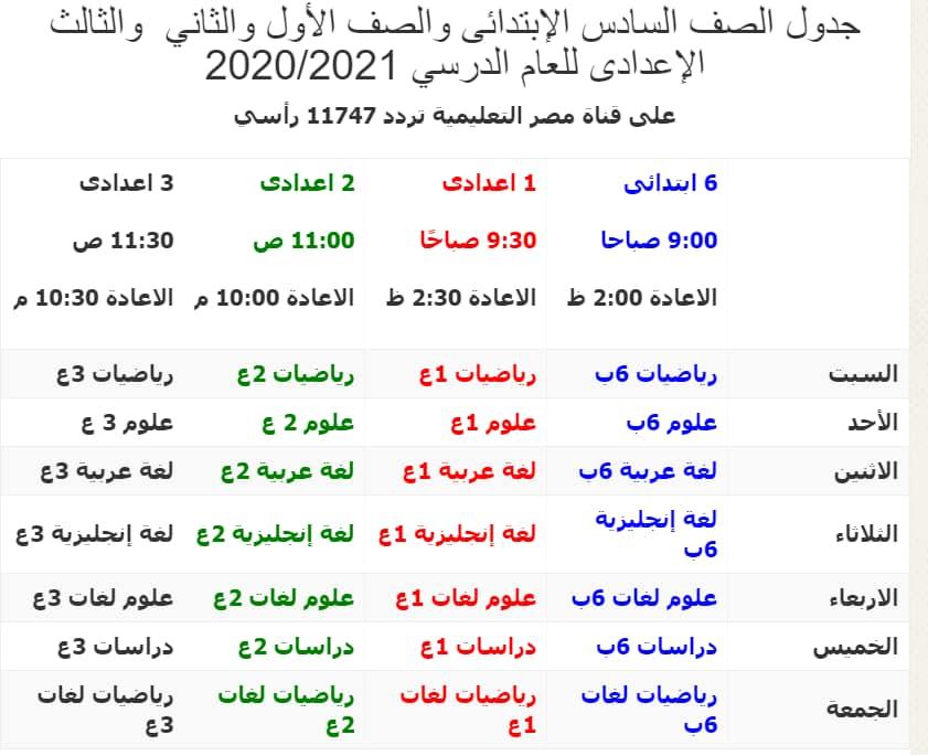 جدوال البرامج التعليمية للعام الدراسي ٢٠٢٠-٢٠٢١ بدءا من الصف السادس الابتدائي حتي الصف الثالث الثانوي قناة مصر التعليمية تردد ١١٧٤٧/v/٢٧٥٠٠ - Educ 1 1262110