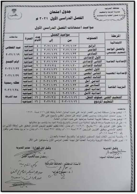عاجل الشرقية رسميًا امتحان الشهادة الإعدادية 30-1-2021 13060110