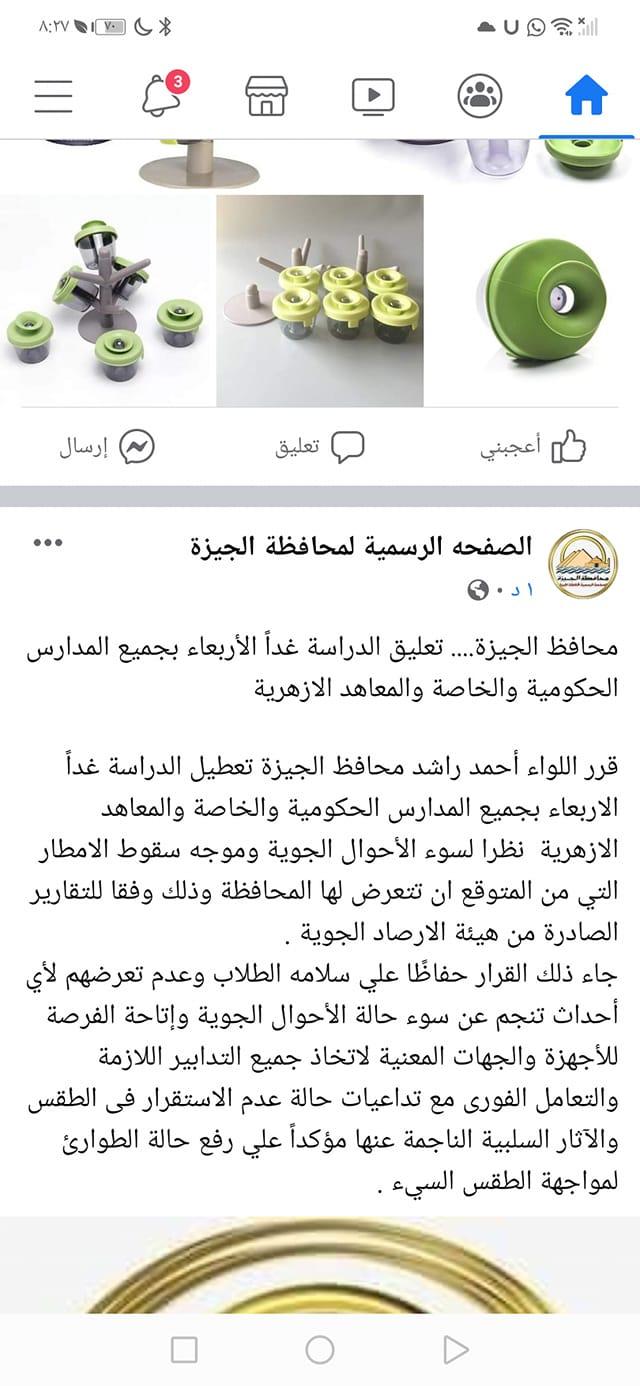 عاجل| تعطيل الدراسة غداً الأربعاءفى كل مدارس القاهرة  والجيزة بسبب الطقس   13107310
