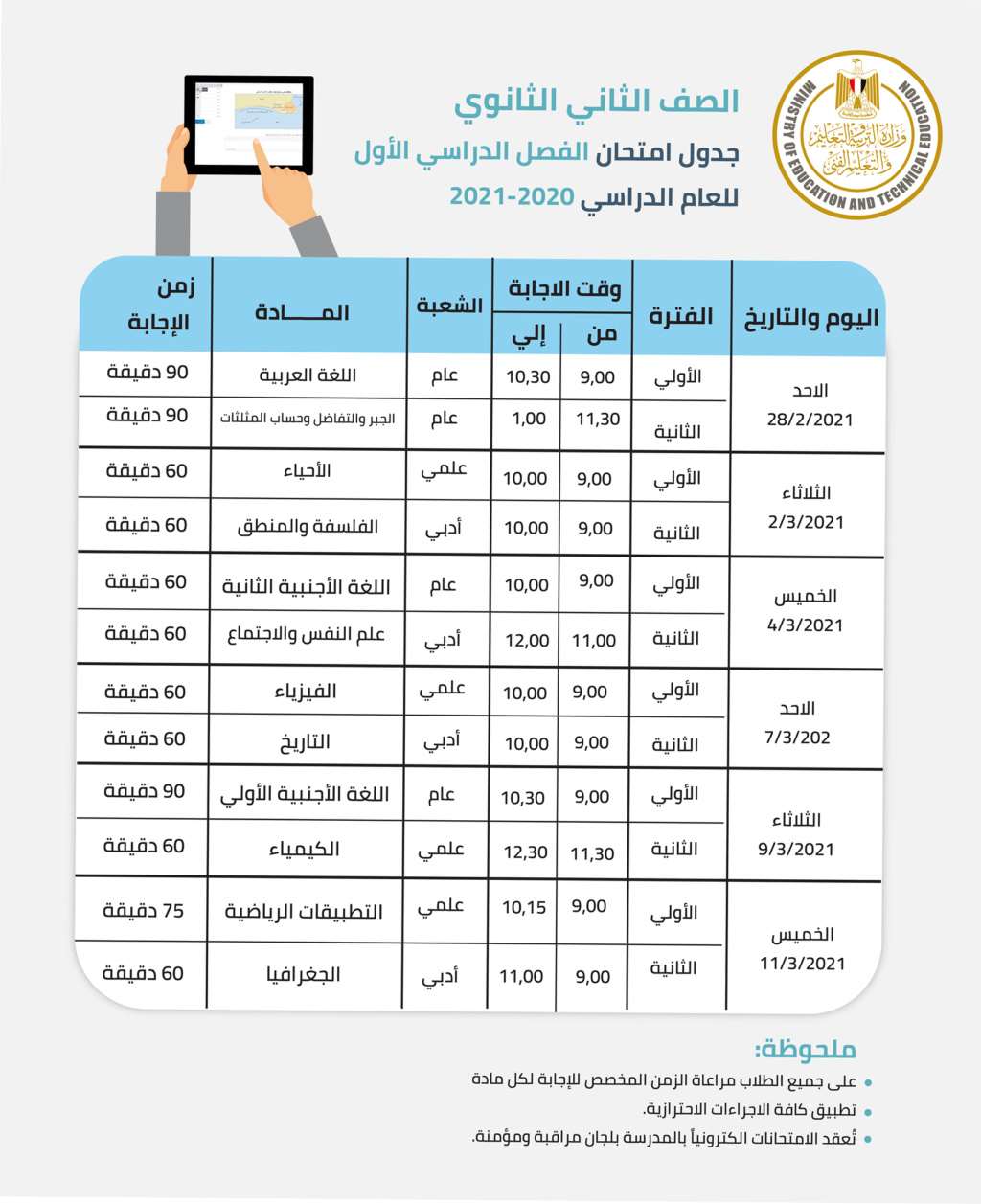 ننشر استعدادات الوزارة لإمتحانات الصفين الأول و الثانى الثانوى ترم أول 2021 الجداول الرسمية للإمتحانات 15059210
