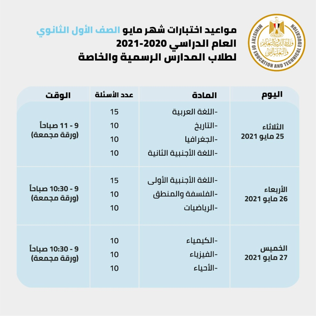 مقررات ومناهج امتحان شهر أبريل للصفوف الأول والثاني الثانوي من خلال الجداول التالية. 16398210