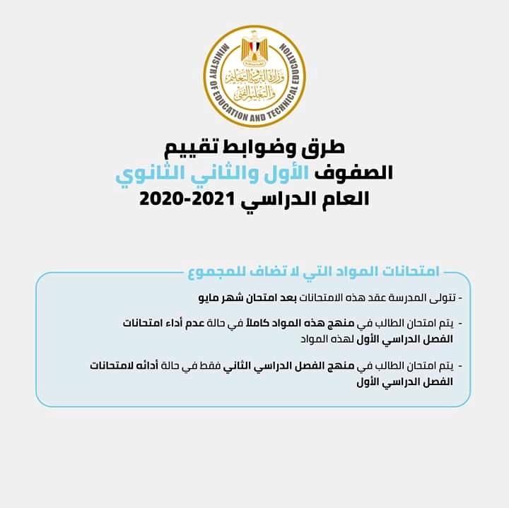 ملخص قرارات وزير التربية و التعليم الخاصة بإمتحانات فرق الثانوى العام  و فى انتظار قرارات مرتقبة لباقى المراحل 16915110