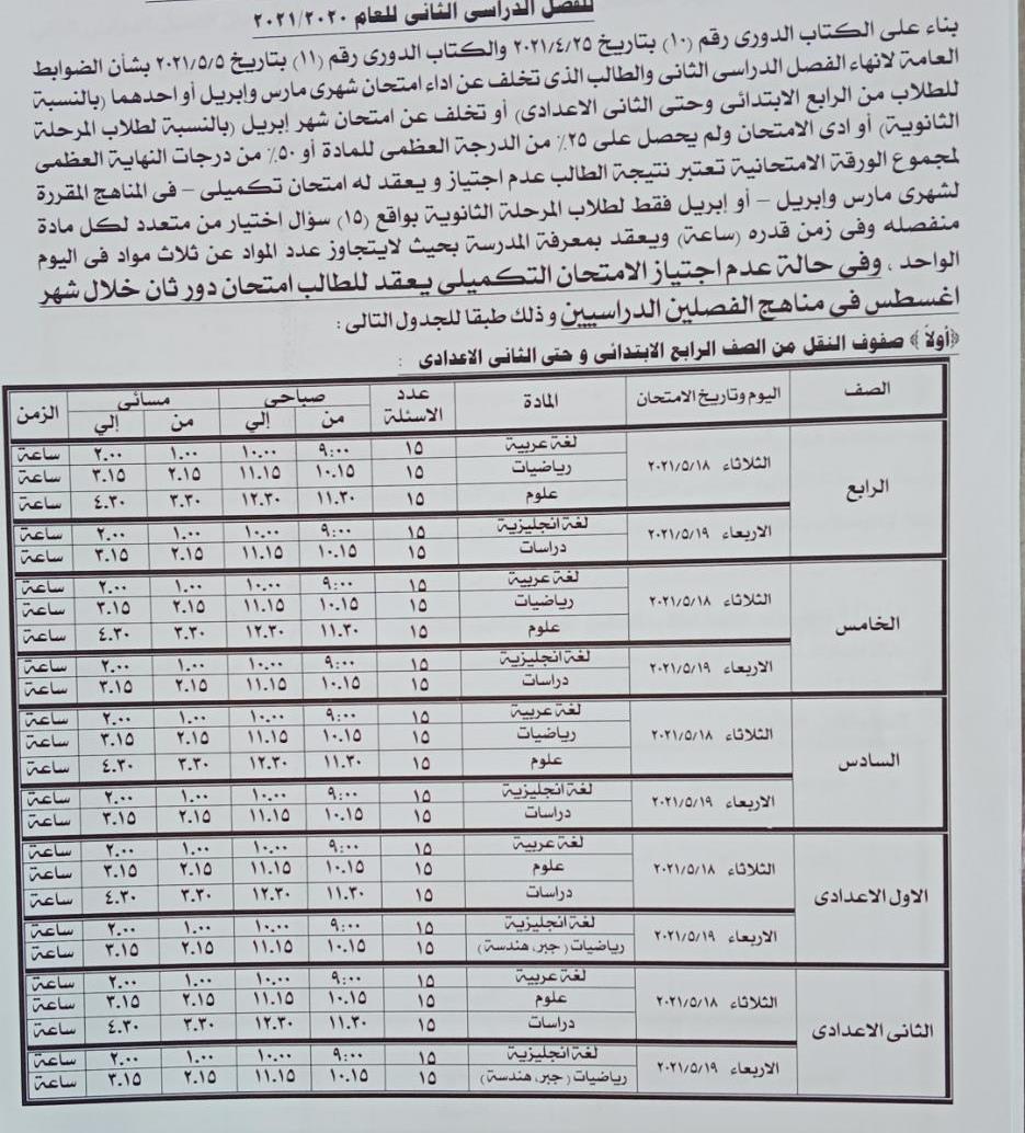 الامتحانات التكميلية لصفوف النقل فى محافظة الجيزة 18 مايو 17639110