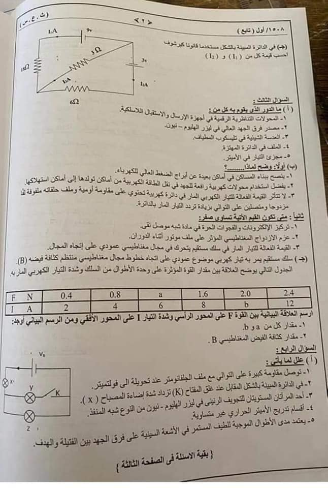 امتحان الثانوية العامة للسودان فيزياء 2021 19609910