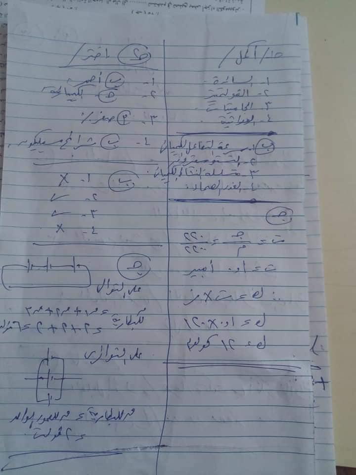إجابة امتحان العلوم للشهادة الإعدادية محافظة الغربية 2021 19747610