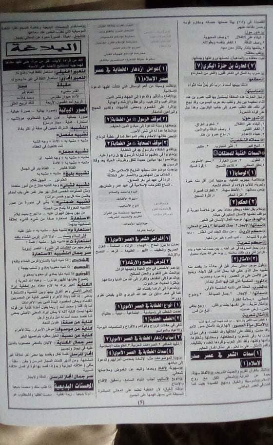 تجميع  لأفضل  مراجعات و امتحانات اللغة العربية والدين للصف الأول الثانوى  ترم أول 2020 316