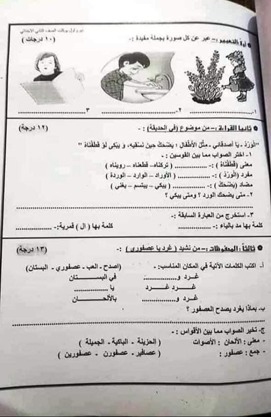"""امتحان عربى   بالدرجات """" فعلى """" للصف الثانى الإبتدائى ترم أول2019 48411810"""