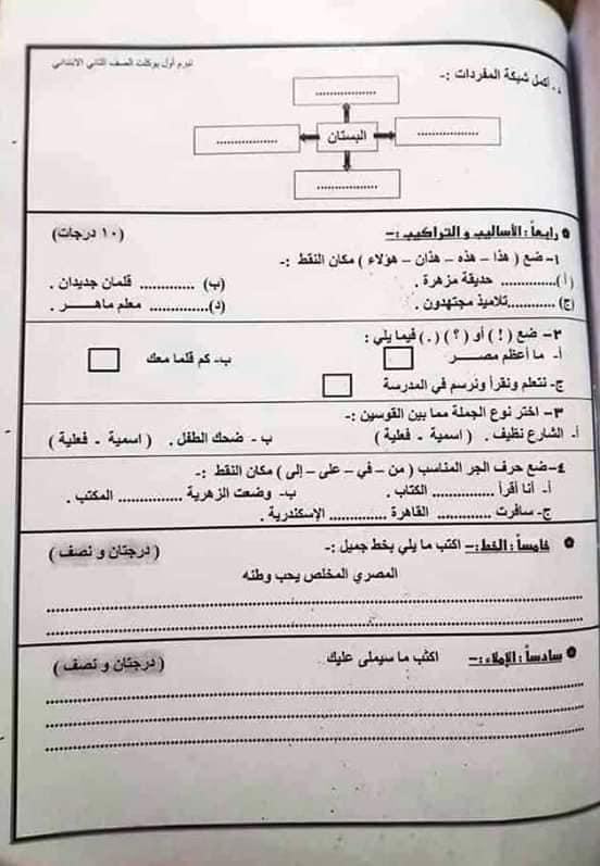"""امتحان عربى   بالدرجات """" فعلى """" للصف الثانى الإبتدائى ترم أول2019 48417710"""