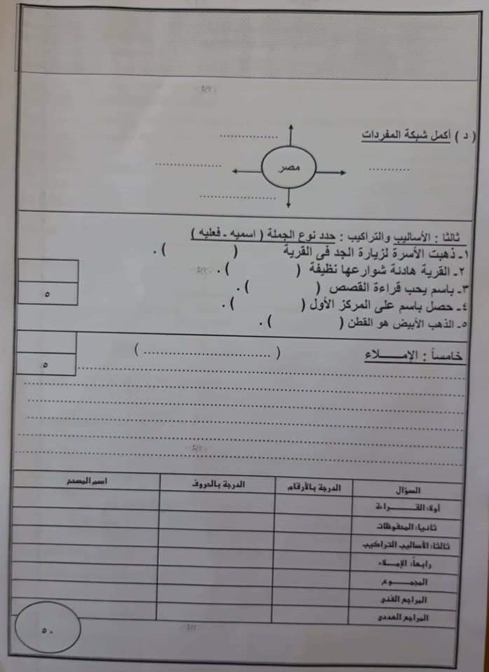 """امتحان عربى ودين  """" فعلى """" للصف الثالث الإبتدائى ترم أول2019 48430310"""