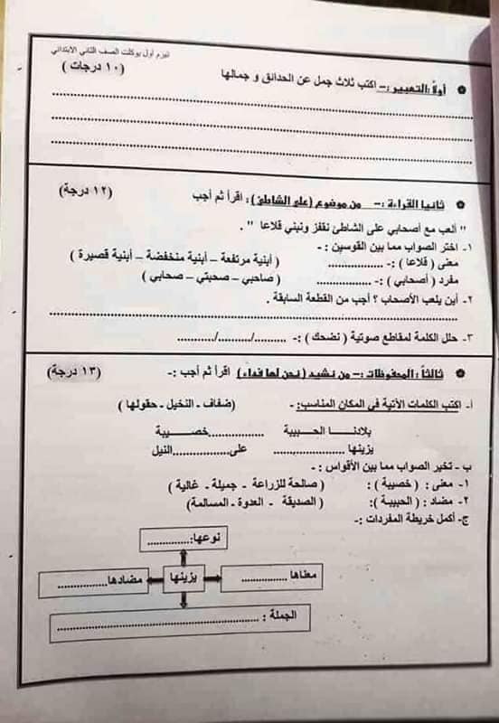 """امتحان عربى   بالدرجات """" فعلى """" للصف الثانى الإبتدائى ترم أول2019 49148010"""