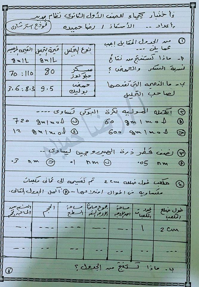 امتحان متوقع كيمياء للصف الأول الثانوى2019 49594110