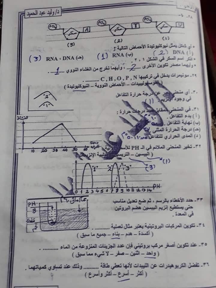 ملف ملخص وامتحانات محلولة أحياء الصف الأول الثانوى ليلة امتحان 2019 49763010