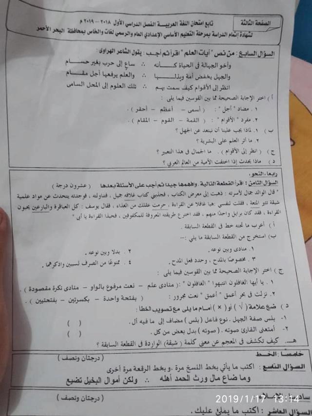 امتحان اللغة العربية للشهادة الإعدادية البحر الأحمر ترم أول2019 50626110