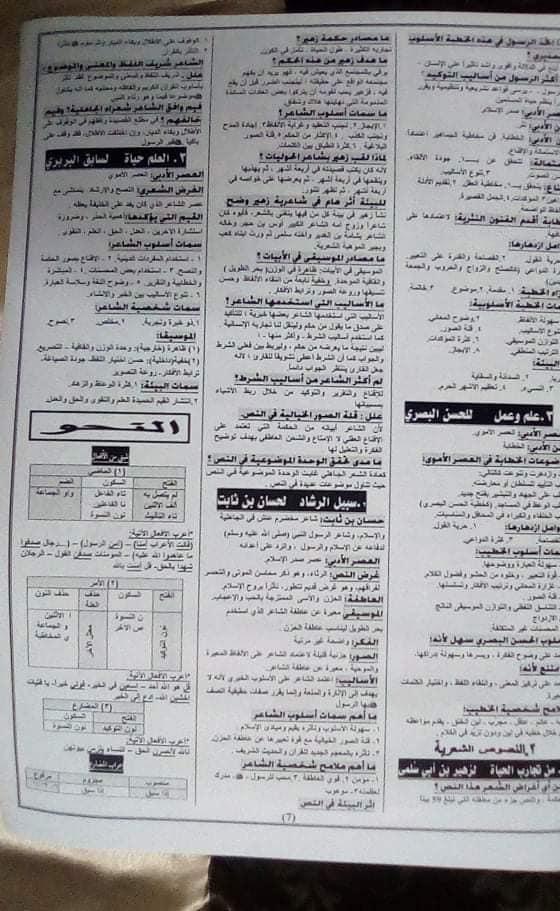 تجميع  لأفضل  مراجعات و امتحانات اللغة العربية والدين للصف الأول الثانوى  ترم أول 2020 711