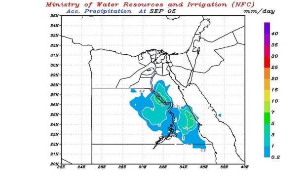 """التنبؤ بالفيضان"""" يوضح خريطة سقوط الأمطار حتى الإثنين 74976910"""