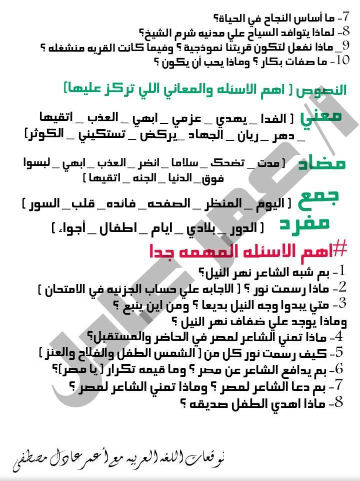 توقعات الأستاذ عمر عادل و عبد الحميد عيسى لإمتحانات اللغة العربية لكل صفوف ابتدائى ترم أول2020 78084710
