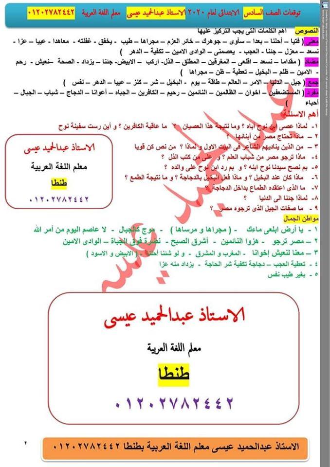 توقعات الأستاذ عمر عادل و عبد الحميد عيسى لإمتحانات اللغة العربية لكل صفوف ابتدائى ترم أول2020 80055810