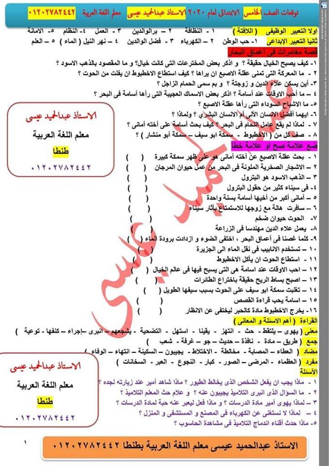 توقعات الأستاذ عمر عادل و عبد الحميد عيسى لإمتحانات اللغة العربية لكل صفوف ابتدائى ترم أول2020 80104410