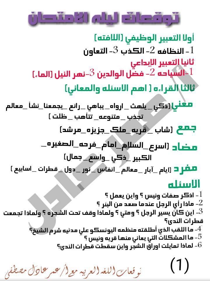 توقعات الأستاذ عمر عادل و عبد الحميد عيسى لإمتحانات اللغة العربية لكل صفوف ابتدائى ترم أول2020 80704310