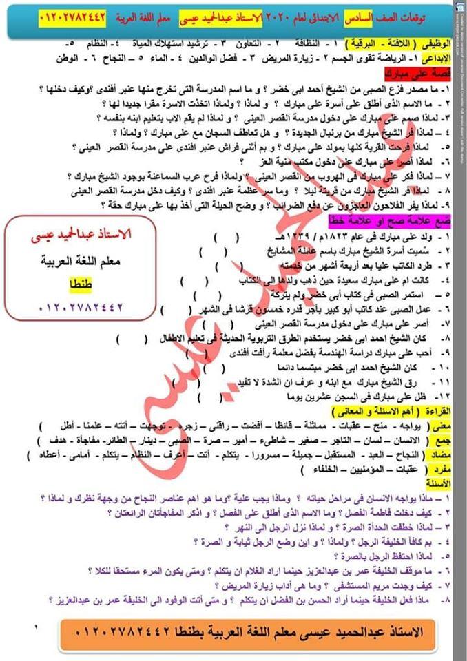 توقعات الأستاذ عمر عادل و عبد الحميد عيسى لإمتحانات اللغة العربية لكل صفوف ابتدائى ترم أول2020 80757110