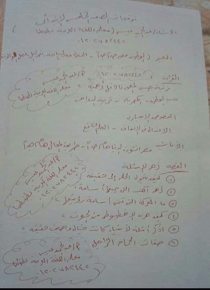 توقعات الأستاذ عمر عادل و عبد الحميد عيسى لإمتحانات اللغة العربية لكل صفوف ابتدائى ترم أول2020 81037610