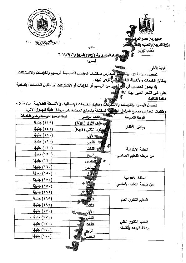 القرار الوزارى 193 الخاص بالرسوم المدرسية للعام الدراسى 2019-2020 Aaocoo11