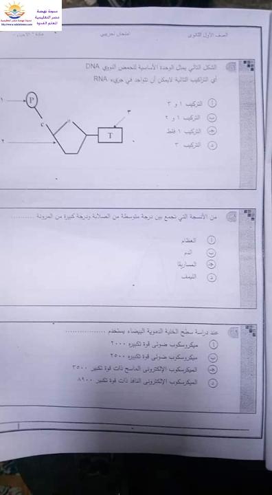 """التحقيق مع واضع امتحان الأحياء للصف الأول الثانوى   لسهولة نقل الإجابات من الكتاب مخالفة """"للأوبن بوك"""" حمل الإمتحانات بالإجابات الرسمية Aoya_a11"""