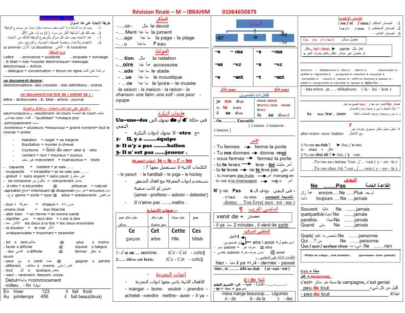 تجميع  لأفضل  مراجعات و امتحانات اللغة الفرنسية   للصف الثانى الثانوى  ترم أول 2020 Ayo_3o10