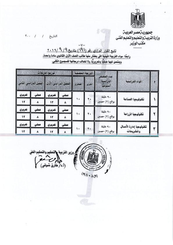 الدرجات الفعلية  للصف الثانى الثانوى لكل المواد2020 و تعليمات دخول امتحانات الصفين الأول والثانى الثانوى يناير Minist16