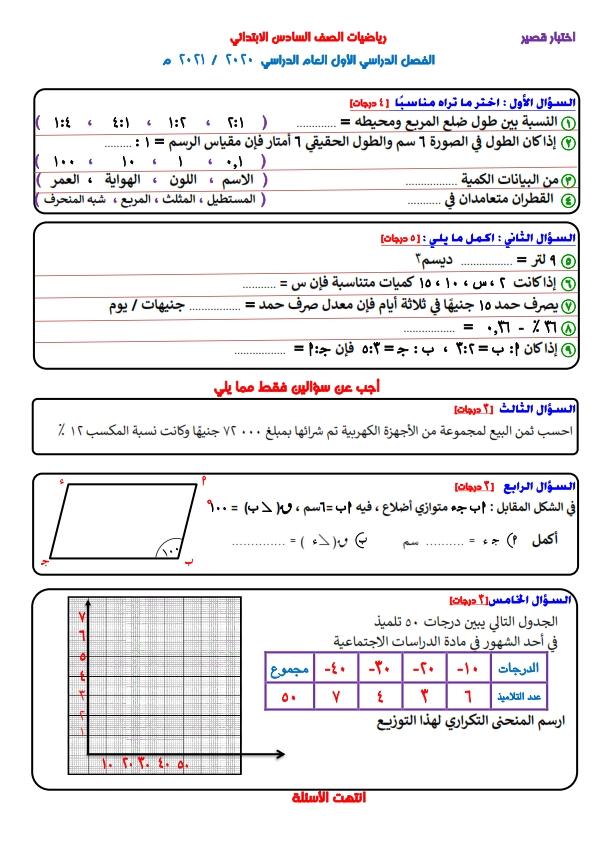 امتحانات للتدريب  كل مواد الصف السادس الإبتدائى ترم أول 2021 Yoo_ao15
