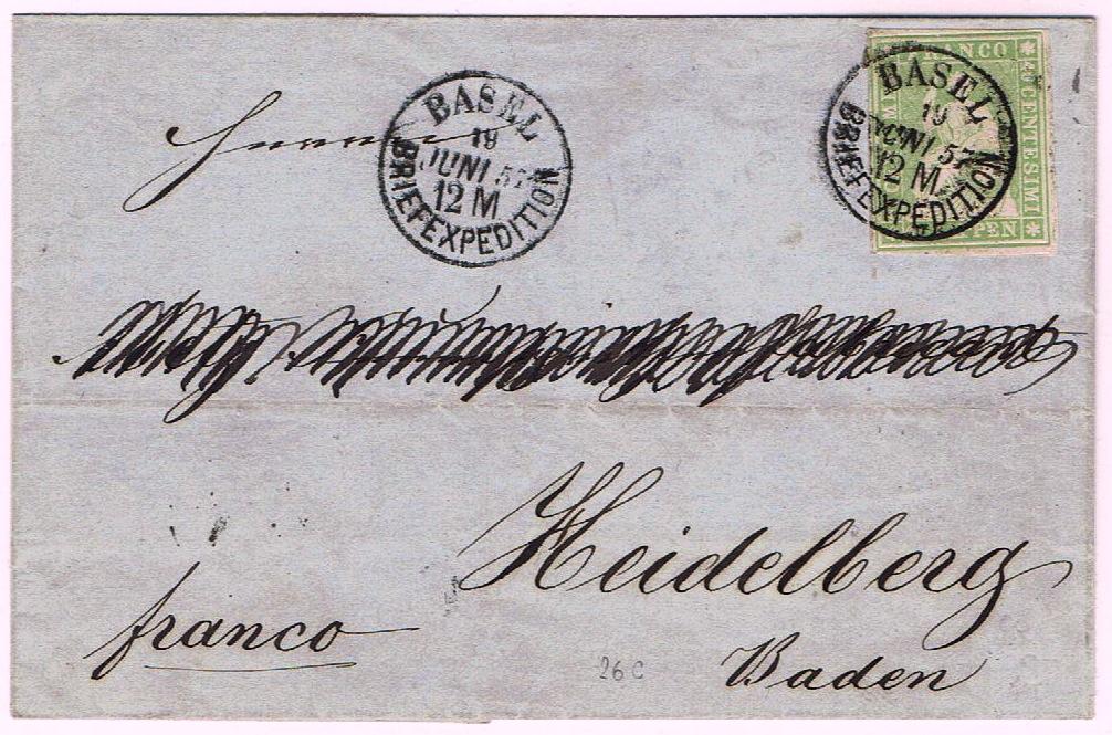 Brief aus Basel ins Großherzogtum Baden 1857 Ch_17i10