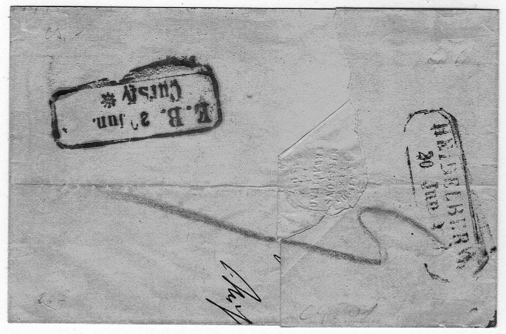 Brief aus Basel ins Großherzogtum Baden 1857 Ch_17i11