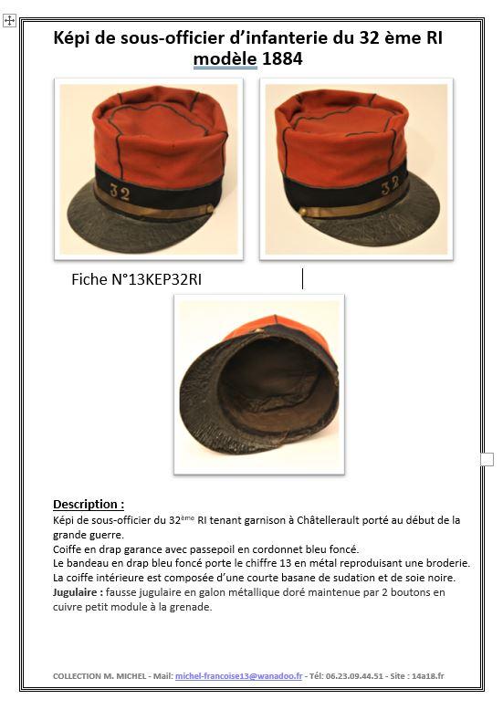 Képi foulard modèle 1886 de capitaine du 123 RI. Fiche_10