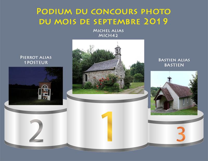 """Concours photo du mois de septembre 2019 - Thème : """"Chapelle ou Oratoire de votre région"""" (terminé) Podium24"""