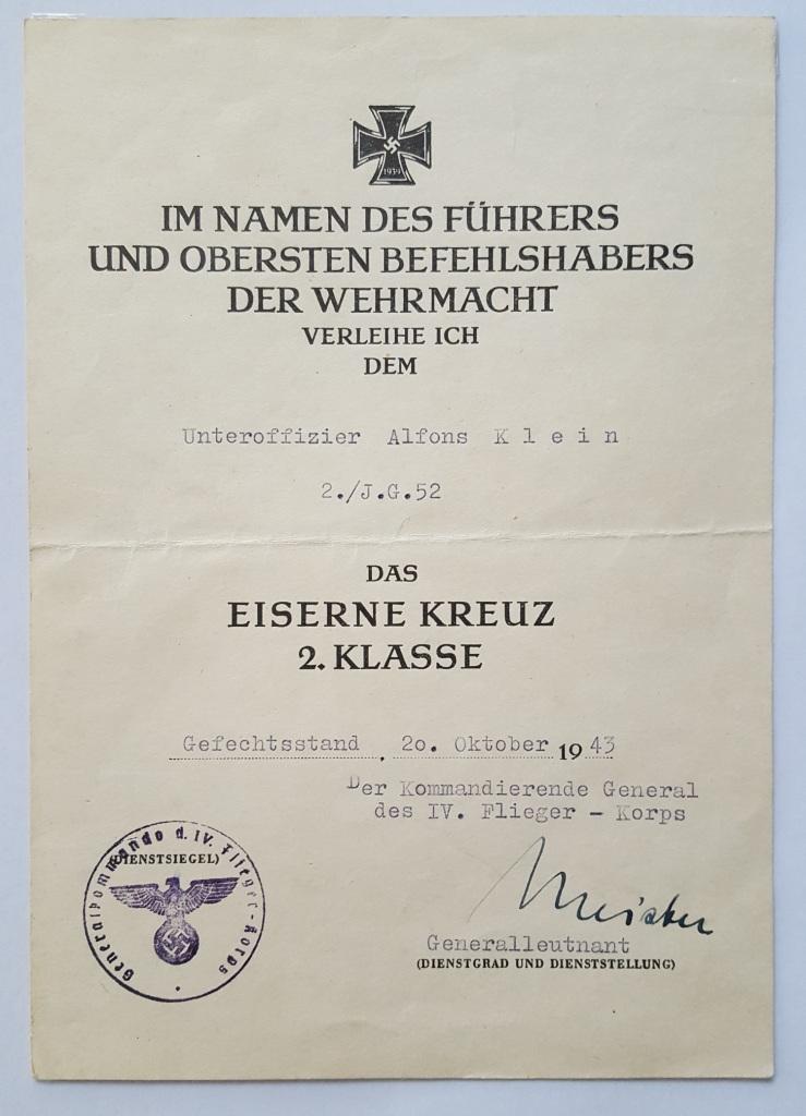 Exceptionnel diplôme d'EK2 attribué à un as de la luft 20190410