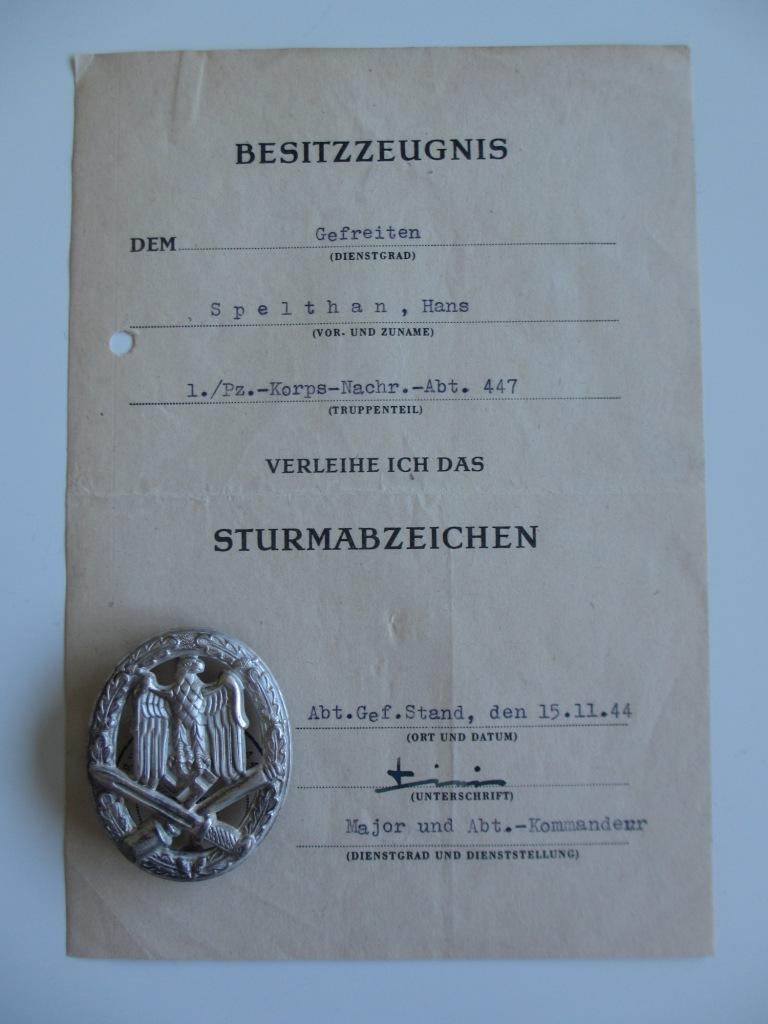 Diplôme badge d'assaut général Img_6101