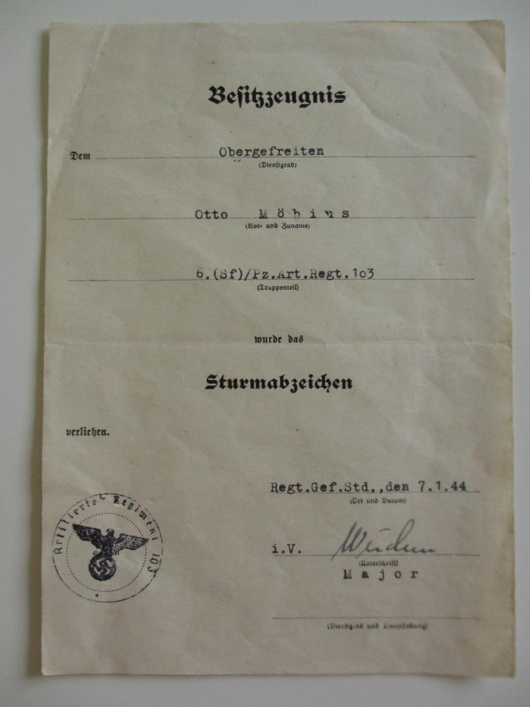 Lot de diplômes d'un artilleur blindé (panzer artillerie regiment 103) Img_6965