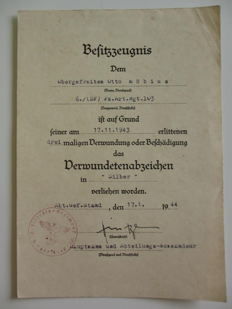Lot de diplômes d'un artilleur blindé (panzer artillerie regiment 103) Img_6966