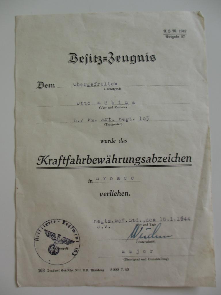 Lot de diplômes d'un artilleur blindé (panzer artillerie regiment 103) Img_6967