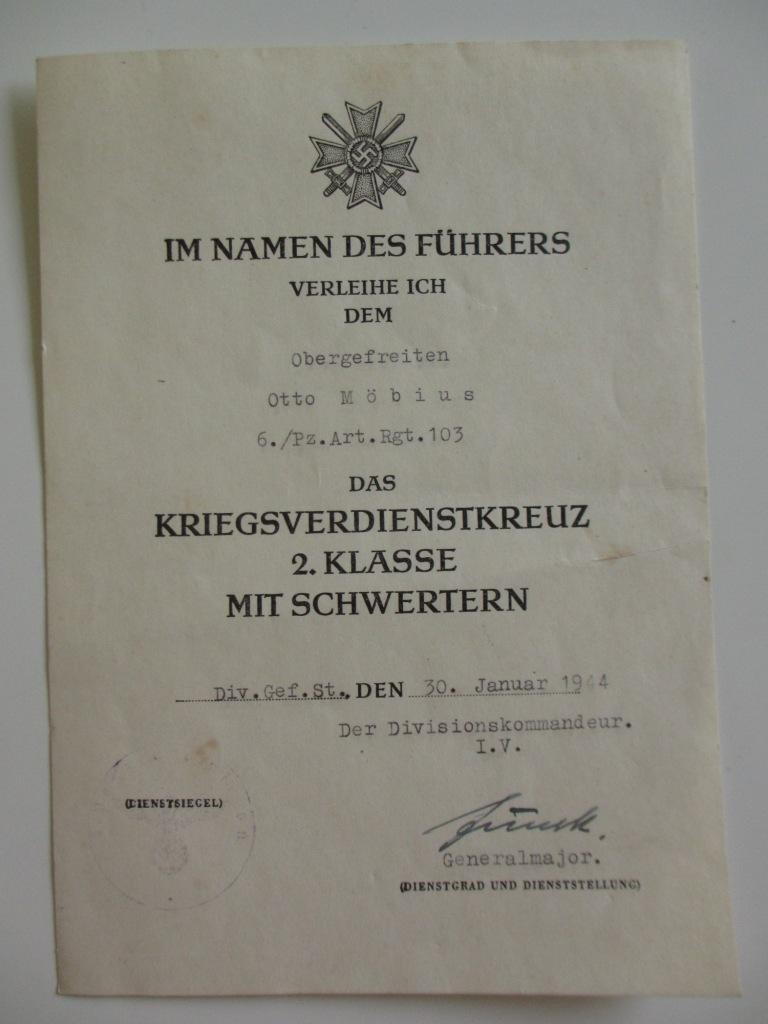 Lot de diplômes d'un artilleur blindé (panzer artillerie regiment 103) Img_6968