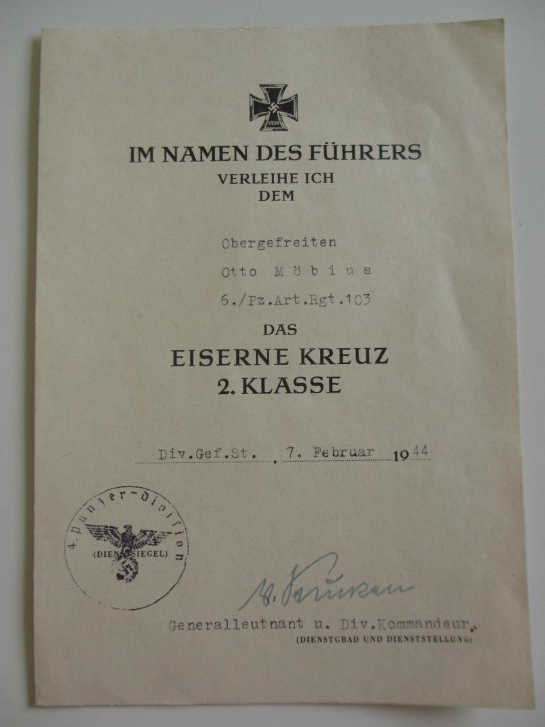 Lot de diplômes d'un artilleur blindé (panzer artillerie regiment 103) Img_6969