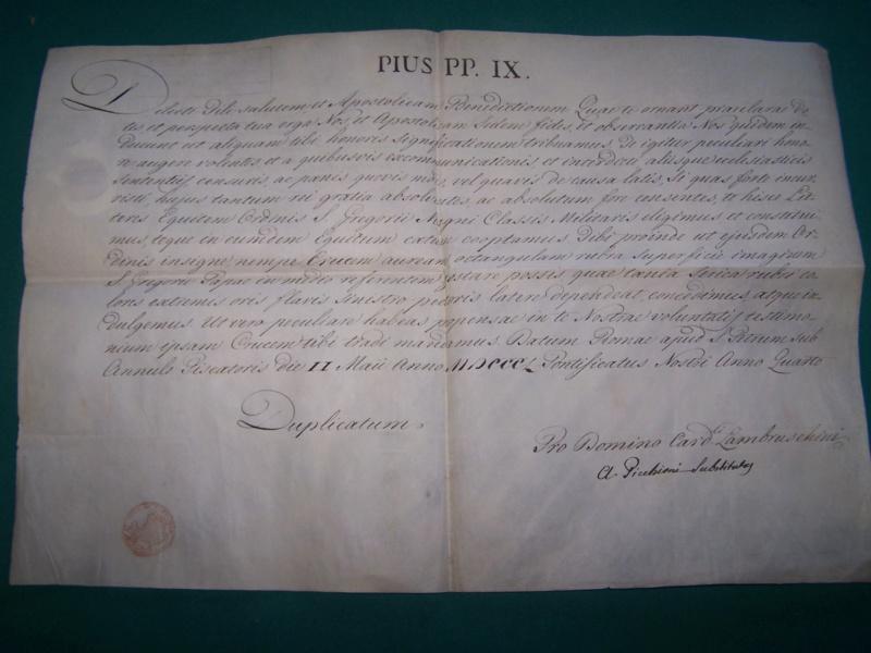 Ordre St Grégoire au Lieut de Vaisseau Louis Felix Camus de Martroy 000_1127