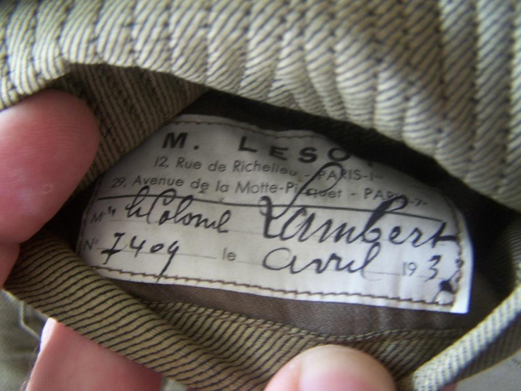 Veste col aiglon Lt-Colonel LAMBERT 1937 65e RI 000_2256