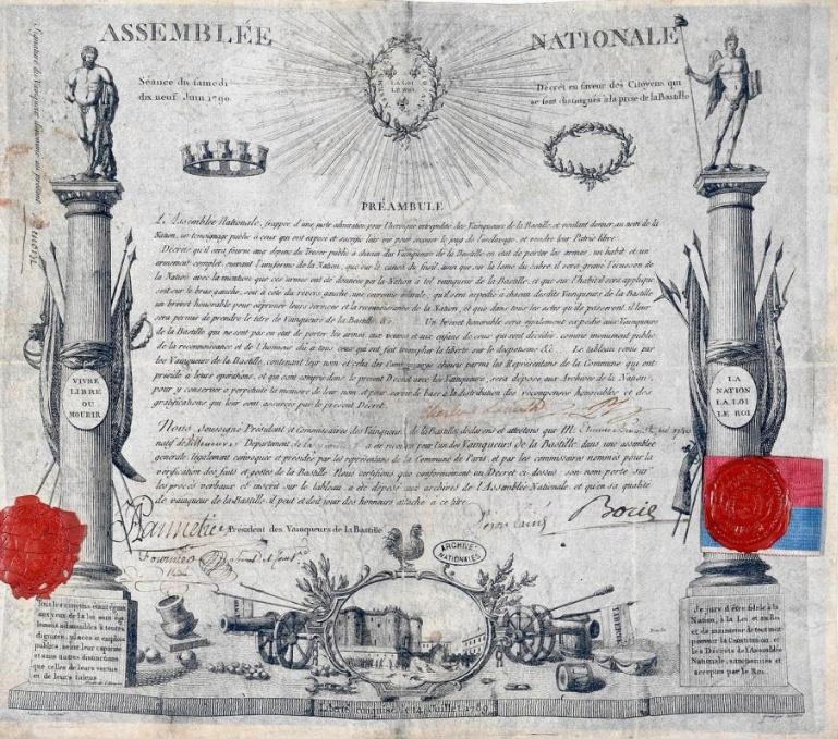 Vainqueurs de la Bastille...Couronne Murale 1790 2019-010