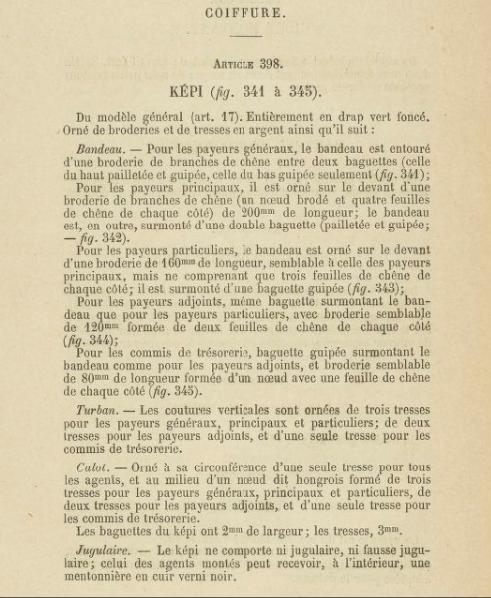 Dolman et képi 1883 du commandant SUBRA Trésor et Poste. 2019-020