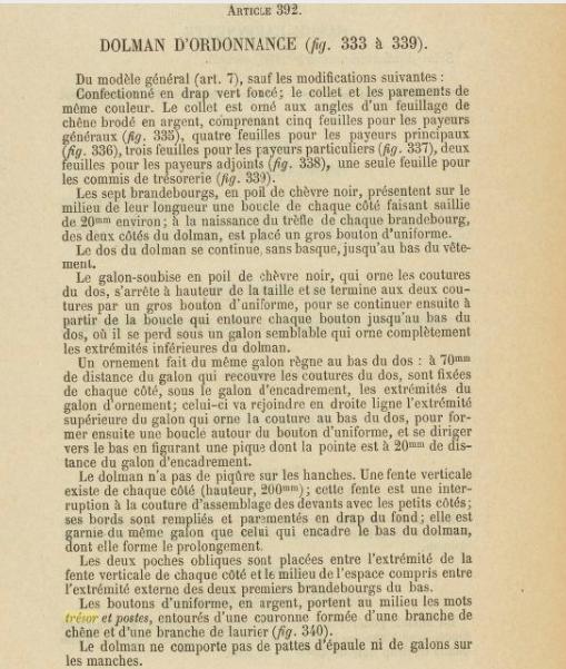 Dolman et képi 1883 du commandant SUBRA Trésor et Poste. 2019-021