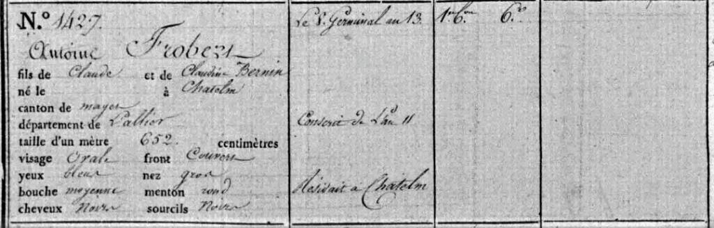 "Un ""Grognard"" Bourbonnais....émouvant témoignage. 2020-013"