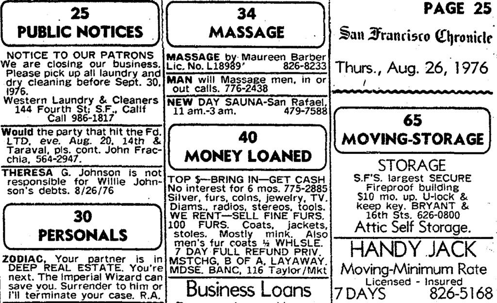 The S.F. Chronicle personal ad August 27, 1976 - Page 2 San_fr10